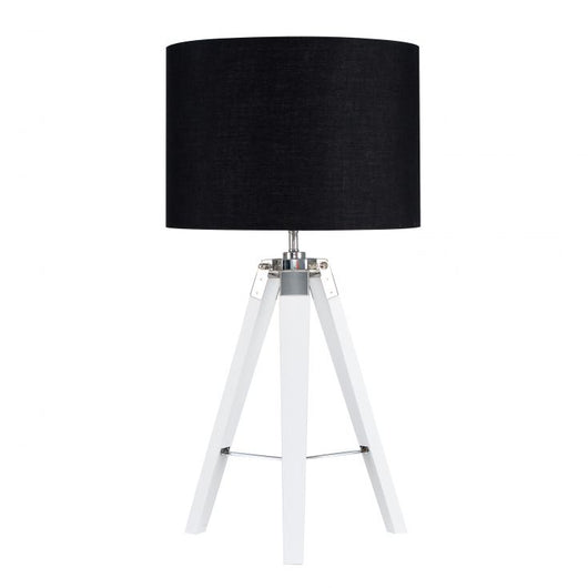 Clipper White Wood and Chrome Table lamp with Black Shade