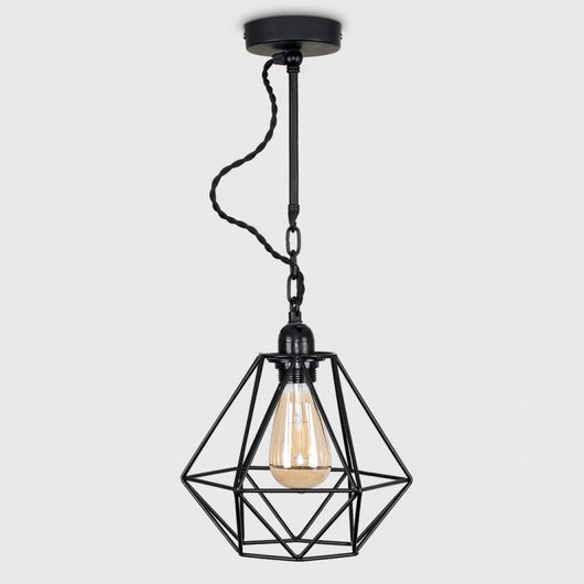 Huber Steampunk Ceiling Light with Black Diablo Shade