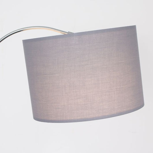 Curva Floor Lamp in Chrome with Large Grey Shade