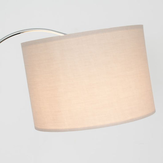 Curva Floor Lamp in Chrome with Large Beige Shade