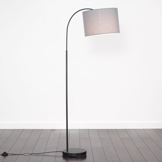 Curva Floor Lamp in Black with Large Grey Shade