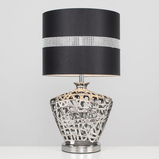 Kalvin Table Lamp in Silver with Black Diamante Shade