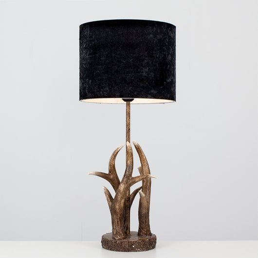 Caribou Antler Table Lamp with Black Velvet Shade