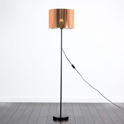 Charlie Black Floor Lamp with Copper Shade