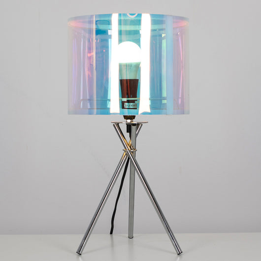 Camden Chrome Table Lamp with Iridescent Shade