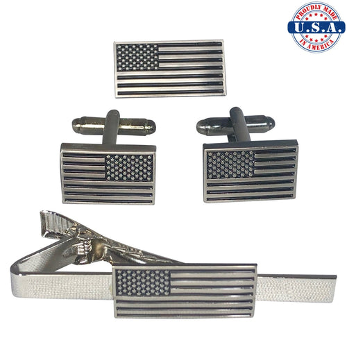 Subdued American Flag Lapel Pin, Cuff-Links, and Tie-Clip (Set Discount)