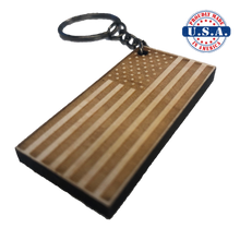 Load image into Gallery viewer, American Flag Wood Keychain