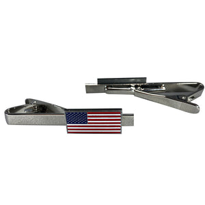 American Flag Tie clip. Silver, Red, White, and Blue.