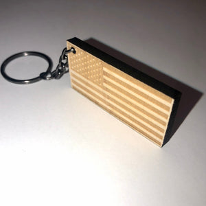 American Flag Wood Keychain