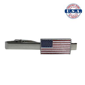 American Flag Tie clip. Silver, Red, White, and Blue.  Proudly Made in America U.S.A.