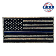 Load image into Gallery viewer, Subdued Antique Silver American Flag Lapel Pin with Thin Blue Line. Proudly Made in America U.S.A.