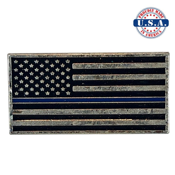 Subdued Antique Silver American Flag Lapel Pin with Thin Blue Line. Proudly Made in America U.S.A.
