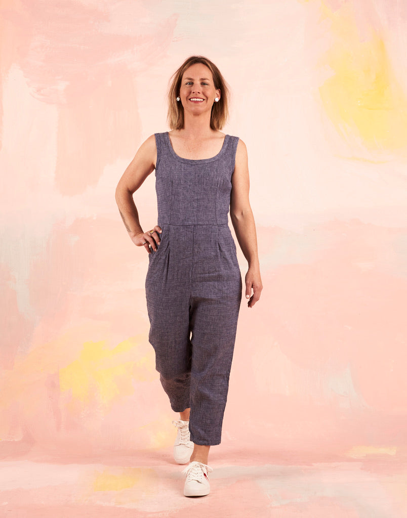 Nina Jumpsuit Chambray 6-8 LAST ONE!