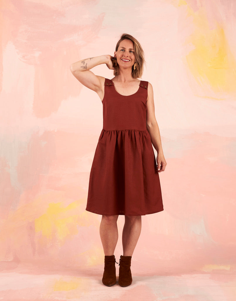 Splice Pinafore Rust Linen