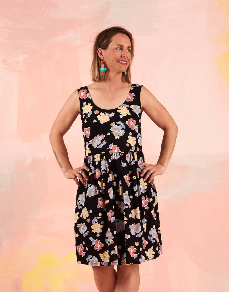 Splice Dress Vintage Black Floral 8-10