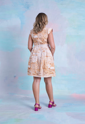 Coco Dress Vintage Toffee Swans 10-12