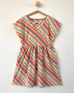 Lucy Dress Vintage Rainbow Stripe 8-10, 10-12, 12-14