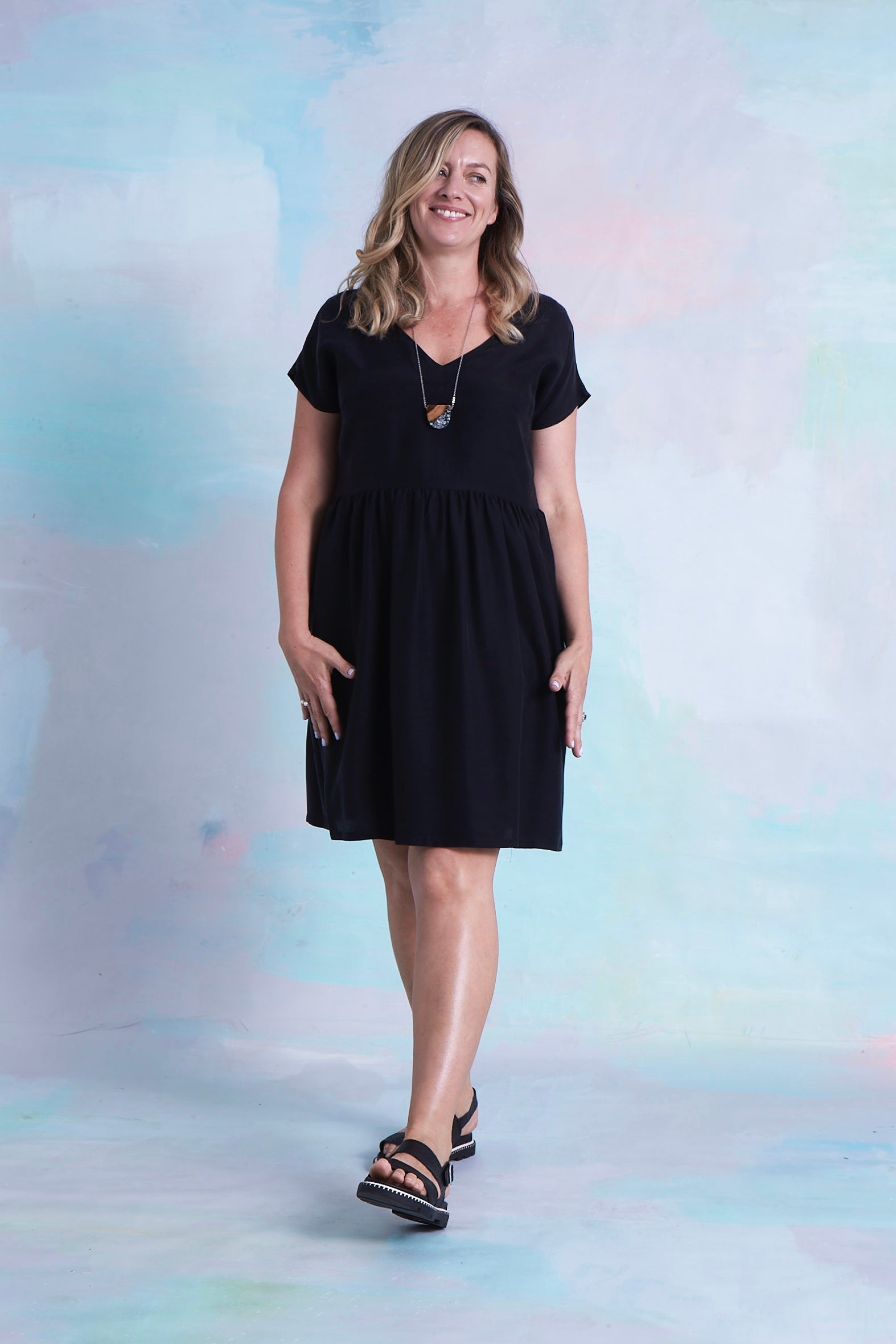 Lucy Dress Black Tencel NOW UP TO SIZE 16-18!