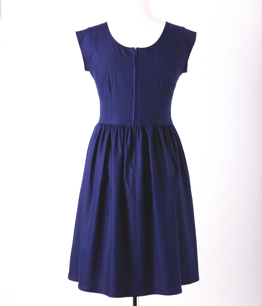 Button Liesl Dress Midnight Blue Linen 12-14 LUCKY LAST!
