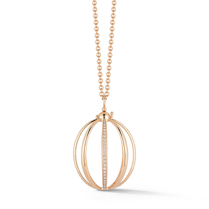 Medium Cage Necklace with Diamond in Rose Gold