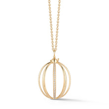 Medium Cage Necklace with Diamond in Yellow Gold