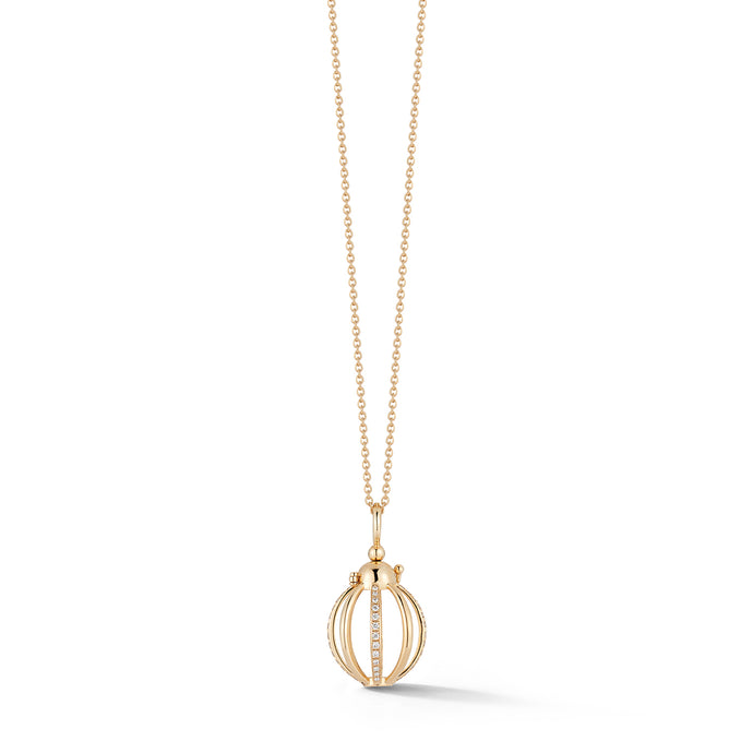 Mini Cage Necklace with Diamonds in Yellow Gold