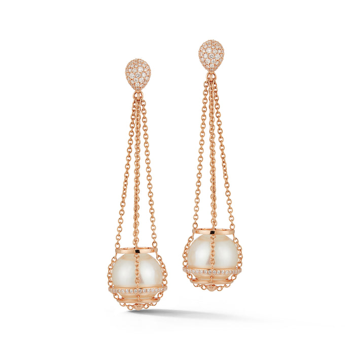 White South Sea Pearl Cage Chain Basket Earrings in Rose Gold