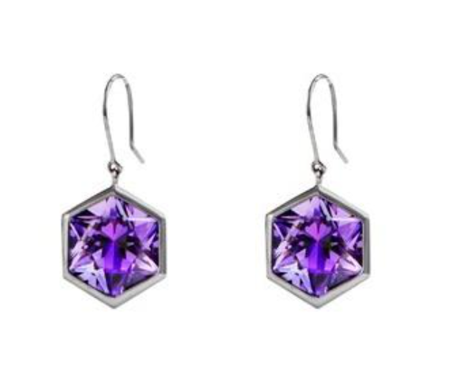 Hexagonal Amethyst Evening Cocktail Earrings