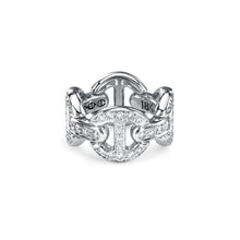 Quad Link Antiquated Ring in White Gold