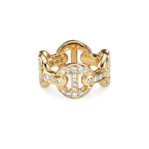 Quad Link Antiquated Ring in Yellow Gold