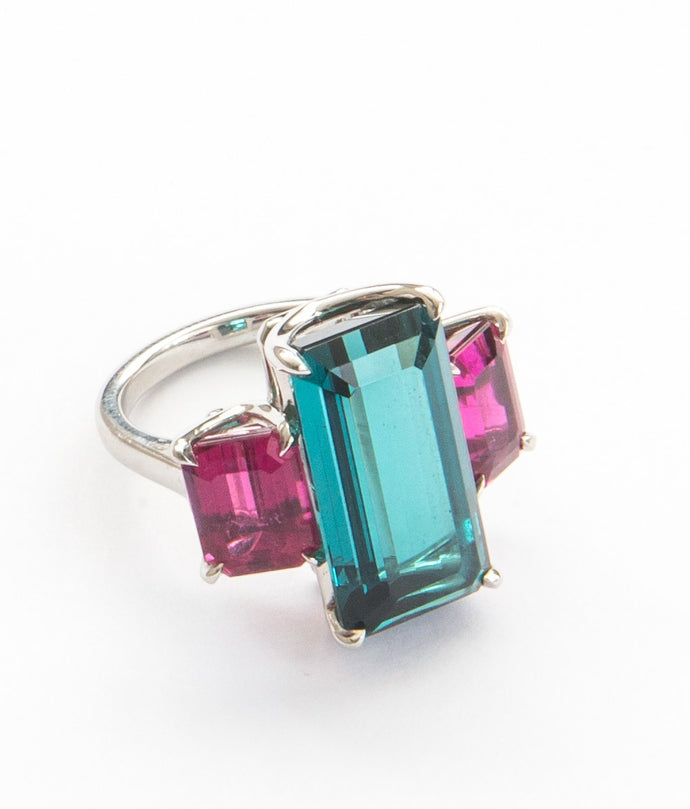 Indicolite & Rubellite Evening Cocktail Ring
