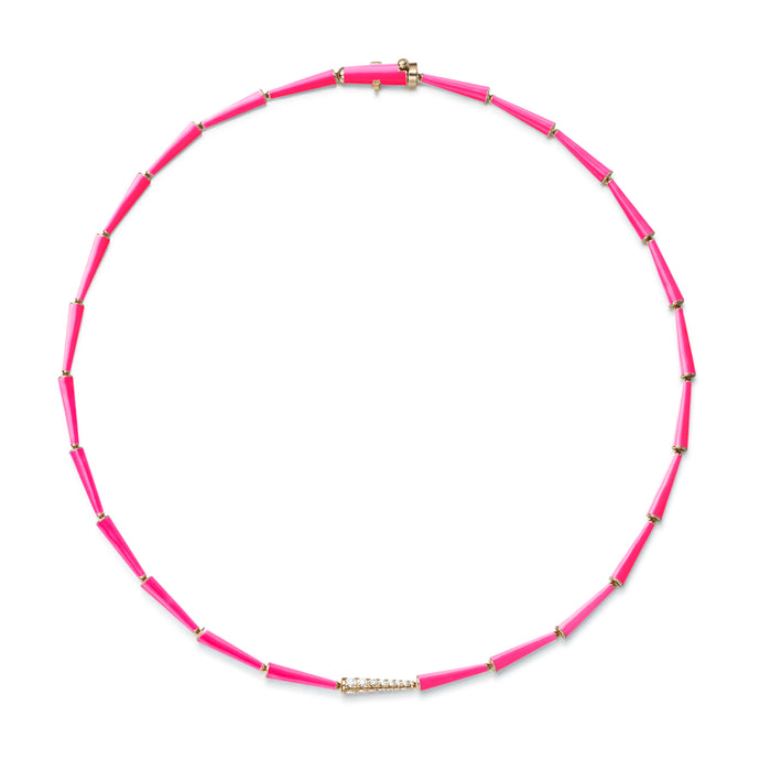 Lola Linked Necklace with Neon Pink Enamel