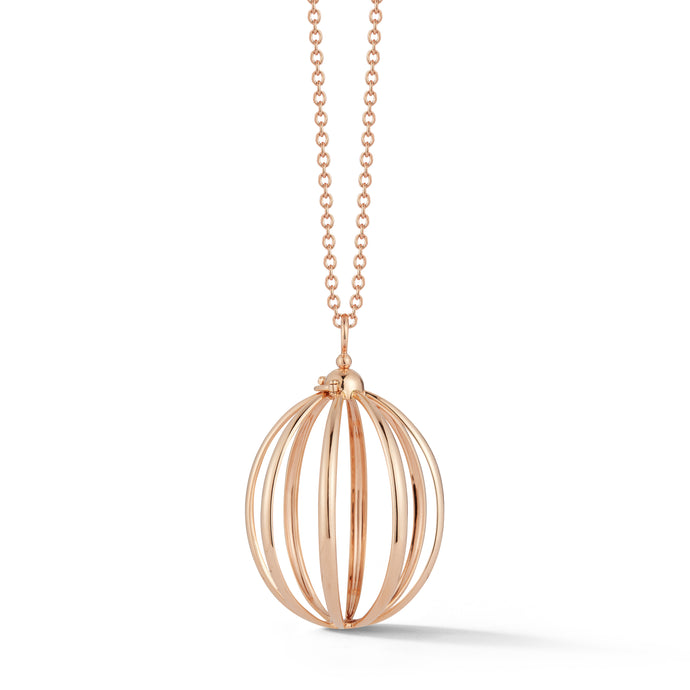 Medium Cage Necklace in Rose Gold