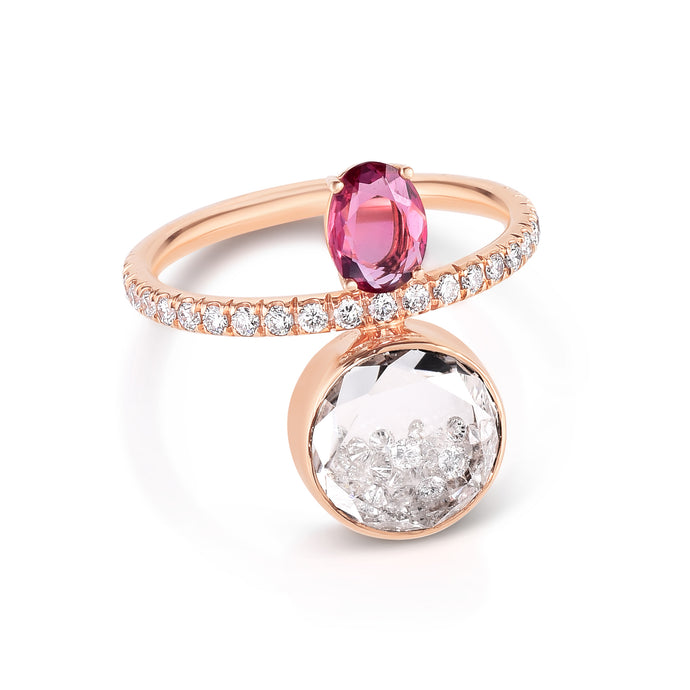 Pink Sapphire and Diamond Eternity Shaker Ring