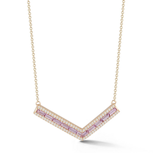 "Light Pink Sapphire and Diamond Origami ""V"" Necklace"