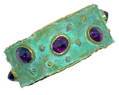 Purple Garnet and Green Patina bracelet by Victor Velyan
