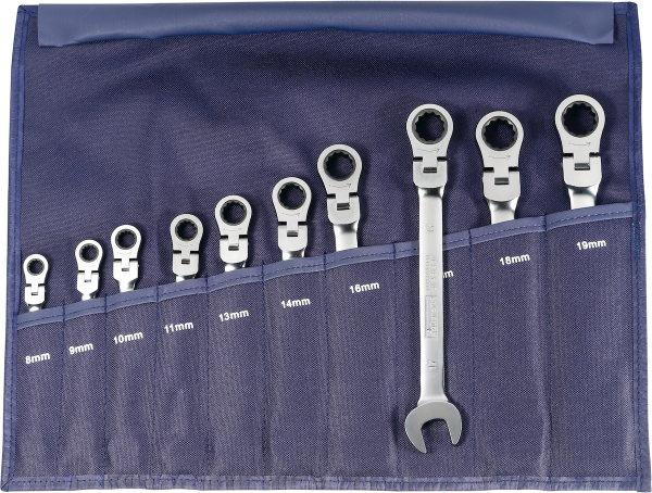 Single open ended / ratchet ring spanner set, in a wallet with swivel head 10 - MQTooling