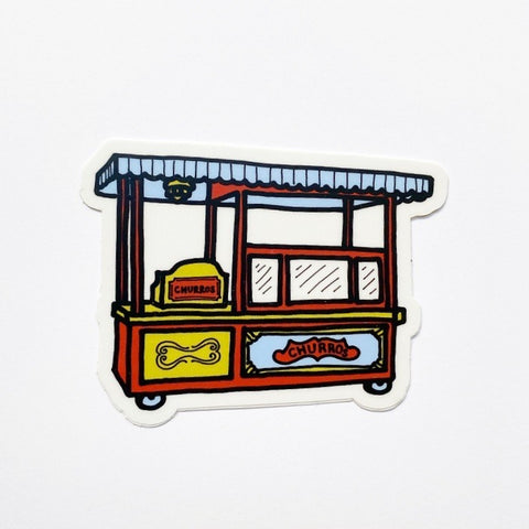 "Churro Cart: 3"" x 2.32"" STICKER"