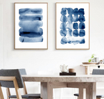 Navy Abstract Watercolor Print