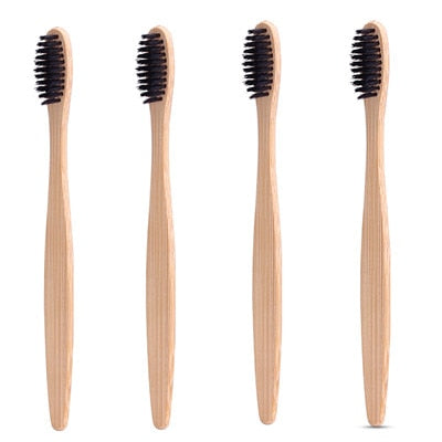 4 Pack Charcoal Bamboo Toothbrush