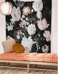 Blooms On Black Wall Tapestry