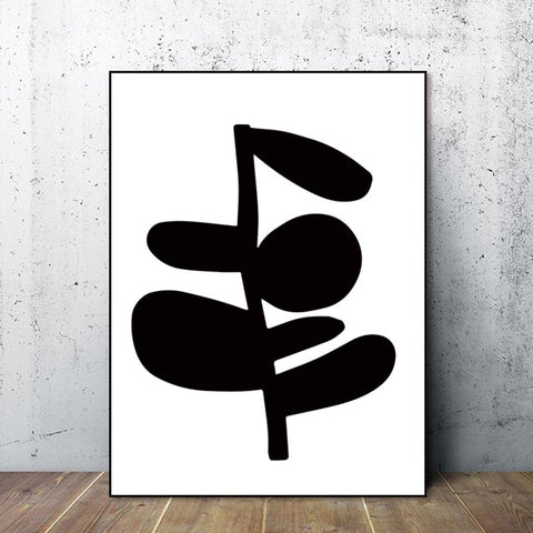Black Abstract Bloom Print