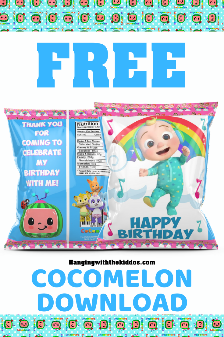 Free Cocomelon Party Printable Download Chip Bag Template Hanging With The Kiddos