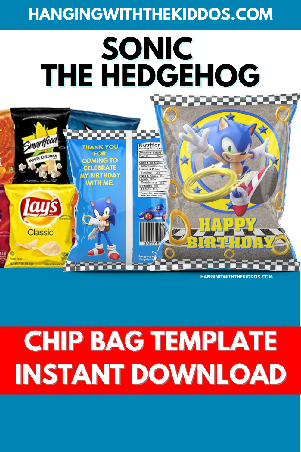 Sonic The Hedgehog Party Favor Chip Bag Template