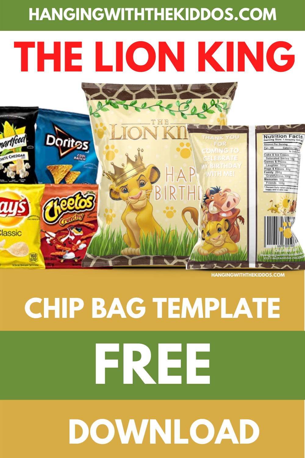 FREE LION KING PARTY PRINTABLE CHIP BAG TEMPLATE