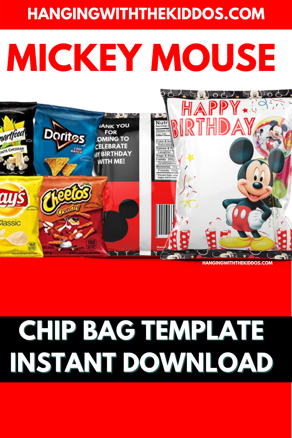 mickey mouse chip bag template