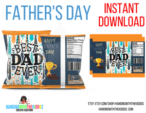 Father's Day Chip Bag Template 2 Instant Download Printable - CUSTOM PARTY FAVORS