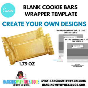 COOKIE CANDY BAR WRAPPER TEMPLATE 1.79 OZ -BLANK TEMPLATE - CUSTOM PARTY FAVORS
