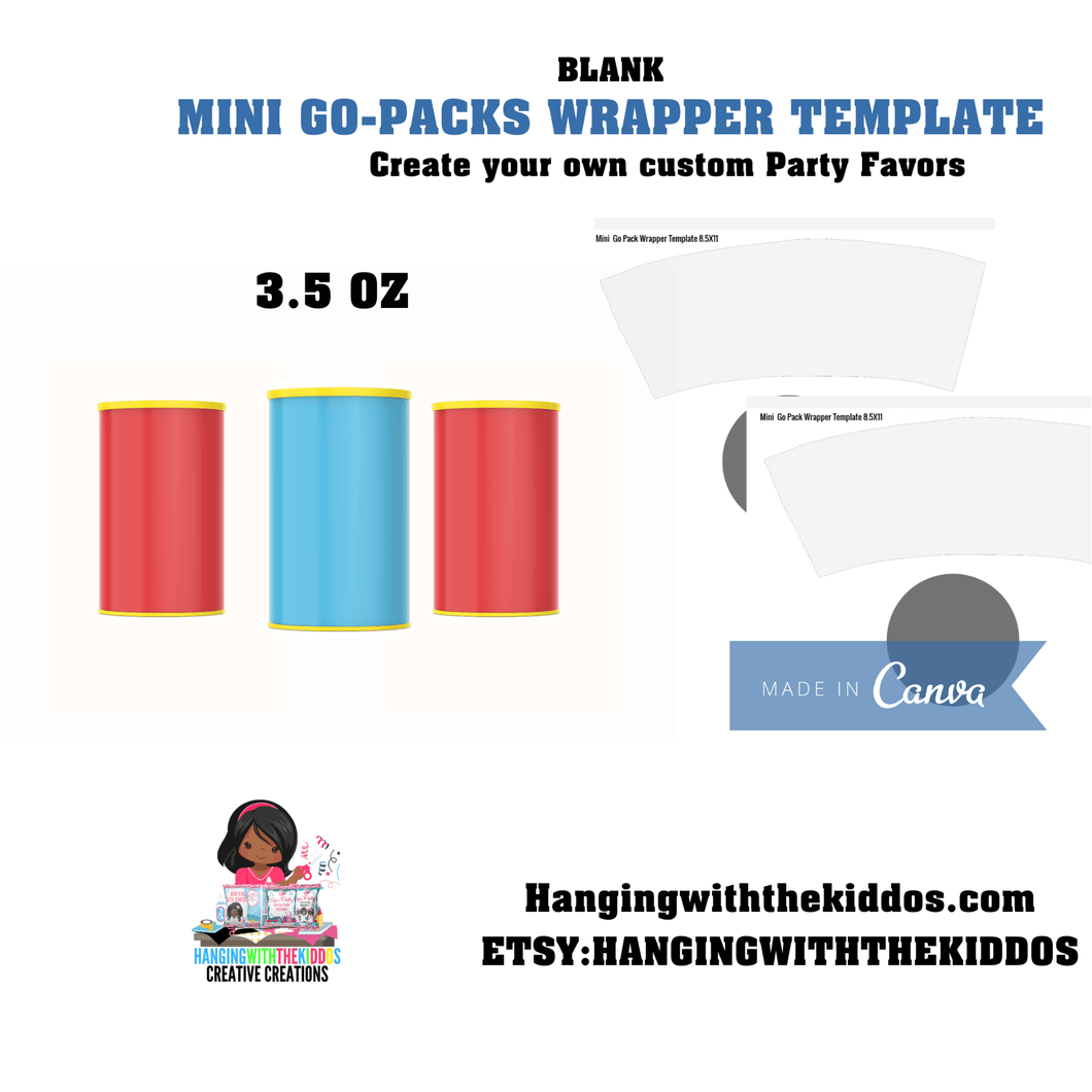 Mini Sandwiches Cookies Go-Packs Wrapper Blank Template| Canva Editable Template 3.5 oz - CUSTOM PARTY FAVORS