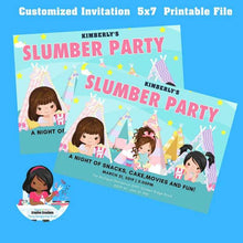 Load image into Gallery viewer, Slumber Party Invitation|  pajama party | Sleepover Birthday Invitations, Tween Girls - CUSTOM PARTY FAVORS